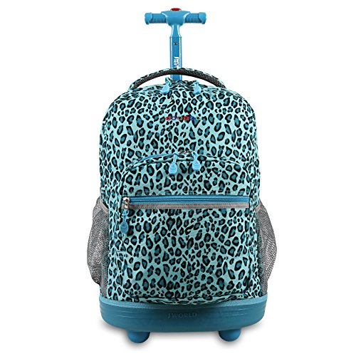 J World New York Sunrise Rolling Backpack. Roller Bag with Wheels, Mint Leopard, 18'