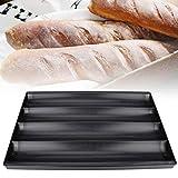 Naroote Molde para Hornear, Bandeja de Aluminio Antiadherente para Hornear de 4 Ranuras Bandeja para Pan francés Molde para Pasteles Accesorios para Herramientas de horneado