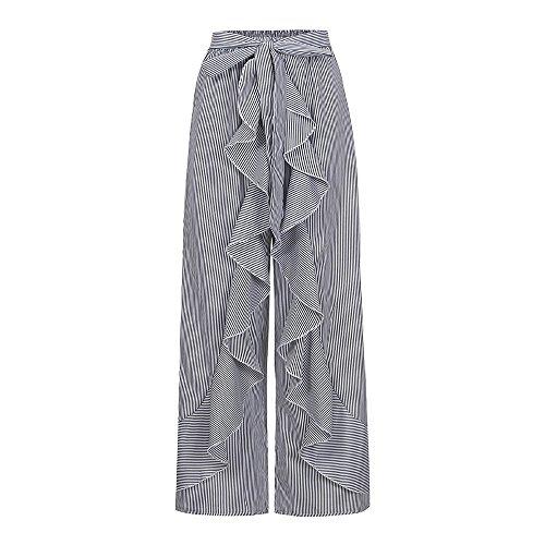 YWLINK 2018 Damen Kleidung,Mode Frauen Sommer RüSchen Gestreiftes Breites Bein Hohe Taille Hosen LäSsige Lange Hosen