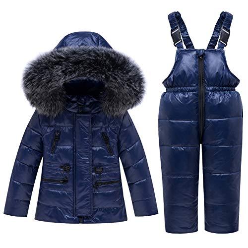 JinBei Niño Chaqueta de Esquí Invierno Conjuntos de Ropa Impermeable Nieve Traje de Nieve Plumón Abrigo con Chaqueta con Capucha + Pantalón de Esquí 2 Piezas Azul 1-2 años