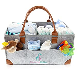 """A CUTER, CLASSIER DIAPER CADDY: Why settle for boring baby bins? This chic, trendy diaper organizer boasts a cool, contemporary design that complements any decor. Subtle unisex colors work well for both boys & girls. HOLDS MORE STUFF: At 16"""" x 11"""" x ..."""
