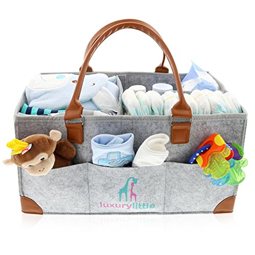 Baby Diaper Caddy Organizer - Extra Large Storage Nursery Bin for Diapers Wipes & Toys | Portable Diaper Tote Bag for Changing Table | Boy Girl Baby Shower Gift Basket | Newborn Registry Must Haves