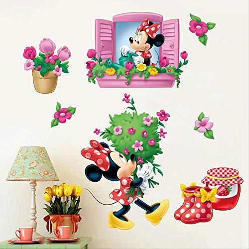 Bande Dessinée Mode Minnie Fenêtre Fleurs Stickers Muraux Pour Chambres D'enfants Cadeaux De Fête Décor À La Maison Mur Pvc Mural Art Bricolage Stickers
