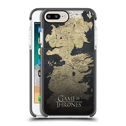 Ufficiale HBO Game of Thrones Mappa di Westeros Disegni Chiave Custodia Bumper in Gel Nera a Prova di Urti Compatibile con Apple iPhone 7 Plus/iPhone 8 Plus