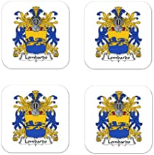 Lombardo Family Crest Square Coasters Coat of Arms Coasters - Set of 4