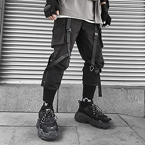 LKHJ Harajuku Moda para Hombre Ropa de Hip Hop Streetwear Cargo Pantalones a Cuadros para Hombre Joggers Harem High Street Pantalones Deportivos de poliéster-Negro_SG