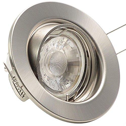5er Set (3-8er Sets) Einbaustrahler DECORA; 230V; COB LED 3W = 40W; Warm-Weiß; EDELSTAHL OPTIK gebürstet; schwenkbar, Leuchtmittel austauschbar; Einbauleuchte Einbauspot Downlight