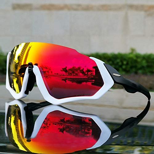 JYH Gafas de Ciclismo Gafas de Sol Deportivas con 3 Lentes Intercambiables para Hombres Mujeres Bicicleta Correr Conducir Pesca Golf Gafas de béisbol,White+Black
