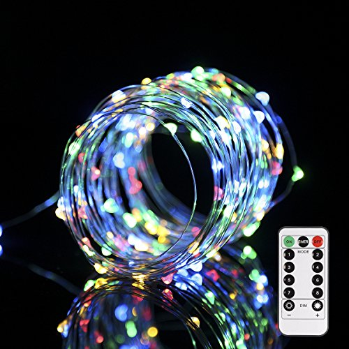 ProGreen 10m/34fts 100 LED Copper Wire String Lights Battery Operated, Waterproof 8 Lighting Mode LED RGB Fairy Starry Lights with Remote Control for Holiday Garden Parties Wedding and Decoration