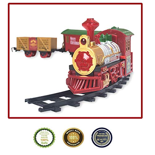 PUSITI Classic Christmas Train Set with Lights and Sounds Railway Tracks Sets Battery Operated Locomotive Engine and 11.5 Ft Tracks Playset for Under The Tree Electronic Toys Gift for Kids