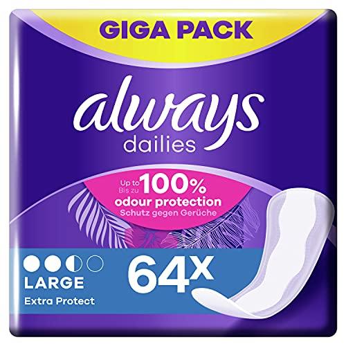 Always Dailies Slipeinlagen Damen Large Extra Protect (64 Einlagen), Giga Pack, Atmungsaktiv, Flexibel & Bequem, Mit Saugfähigem Kern