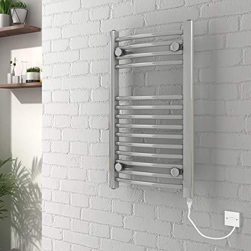 Curved Electric Heated Towel Rail Warmer Radiator Chrome 700 x 400 mm -...