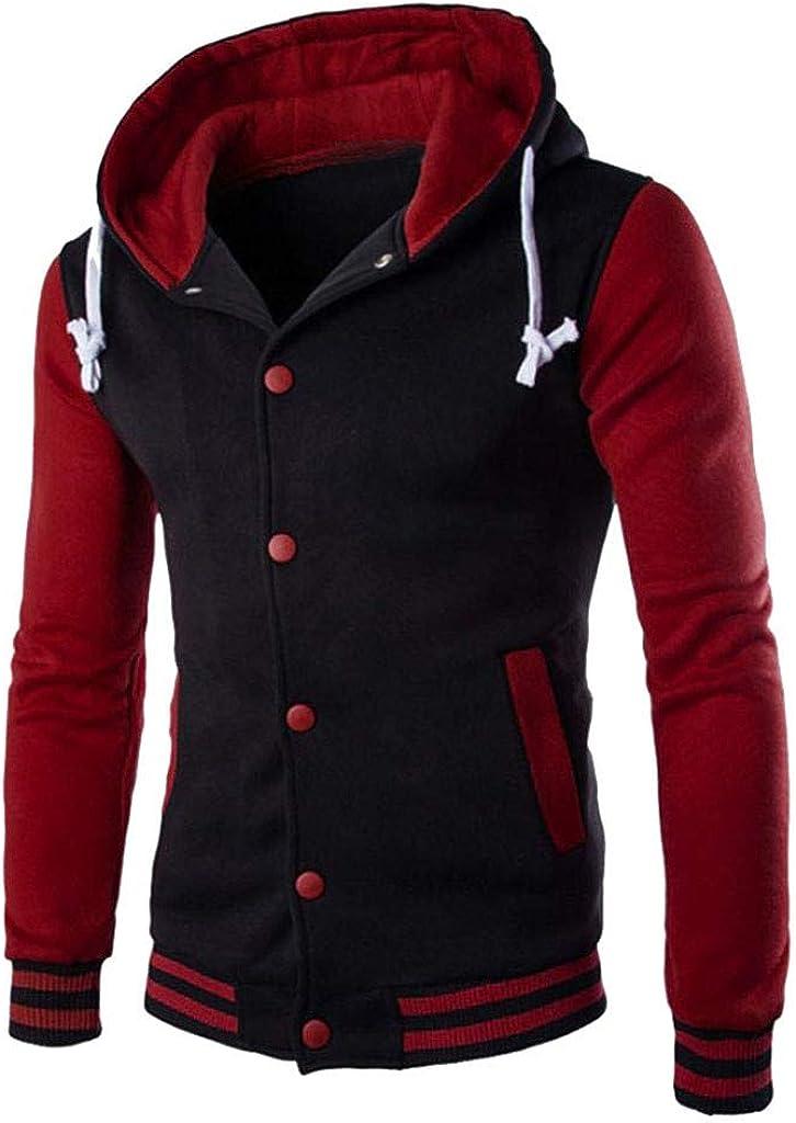KASAAS Patchwork Button Down Hoodie for Men Sweater Slim Drawstring Hooded Warm Sweatshirt Coat Jacket Outwear