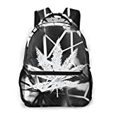 xiameng Shop4ever Marijuana Leaf Galaxy Backpack Students Bookbag Durable Traveling Bag Lightweight Daypack