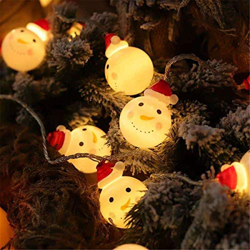 Christmas Snowman Fairy Led Twinkle Lights, Waterproof Battery Operated Warm White String Lights for Christmas Decoration, Christmas Tree, Home, Garden, Christmas Party Supplies (10FT 20LED)