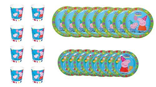 1102, Einweg-Party- und Geburtstags-Grundpackung aus Peppa-Schwein, bestehend aus 8 Gläsern, 8 Tellern 18 cm und 8 Tellern 23 cm