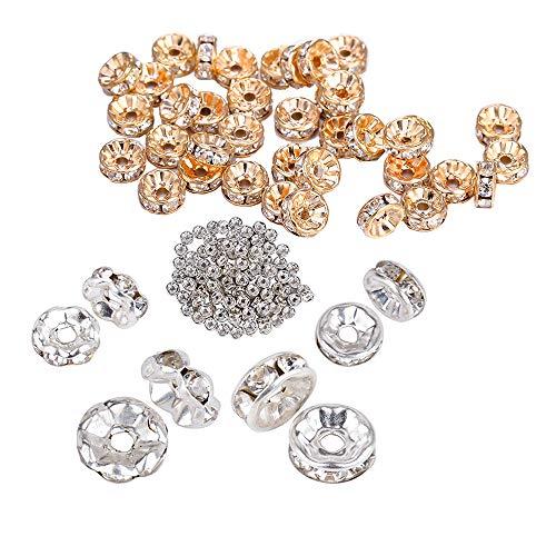 400 Perle di Rhinestone Rotonde Perline in Metallo Gioielli Fai da te Orecchini Collana Bracciale Ciondolo Gioielli, Perle di Diamanti Acqua Dritta (Argento,Kc Oro,Diametro 6 mm + 8 mm)