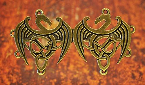 Celtic Dragon Cloak Clasp - Fine Pewter Antiqued Brass Overlay