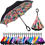 Original Deals Inverted Inside Out Umbrella | Double Layer Inverted UV Protection Unique Windproof Umbrella | Reverse Open Folding Umbrellas with C Hook for hanging on points (Autumn)