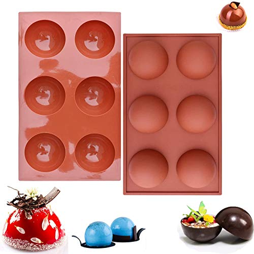 2pcs Semi Sphere Silicone Mold, 6 Holes Half Circle Cupcake Baking Pan Round Shape Silicone Mold, BPA Free, Non Stick, For Chocolate, Cake, Jelly, Sugar Craft, DIY, Pudding(11.4x6.5x1.3inch)