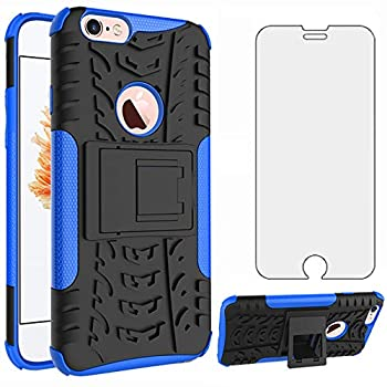 Phone Case for iPhone 6plus 6splus 6/6s Plus with Tempered Glass Screen Protector Cover and Stand Hard Rugged Hybrid Cell Accessories iPhone6 6+ iPhone6s 6s+ i 6X 6a S Six iPhone6splus Men Black