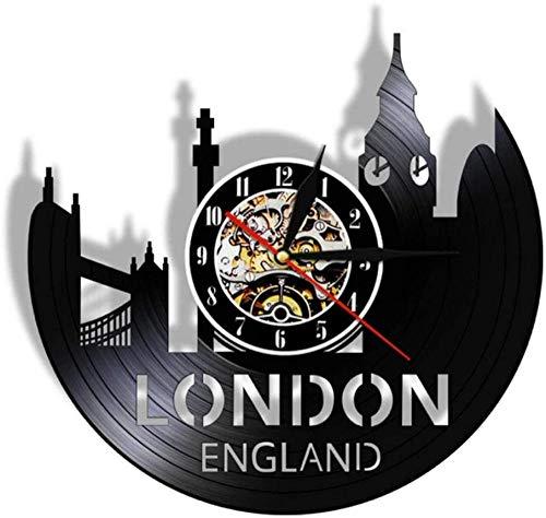 ZZNN Vinyl record wall clock Great Britain Tower Of London City Skyline Vinyl Record Wall Clock England Cityscape Black Watch Travel Gift cjdm2612 Vinyl wall clock