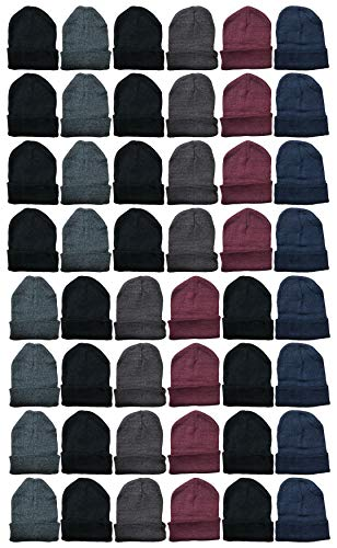 Yacht & Smith 48 Pack Wholesale Bulk Winter Thermal Beanies Skull Caps, Thermal Gloves Unisex (Assorted Beanie A)