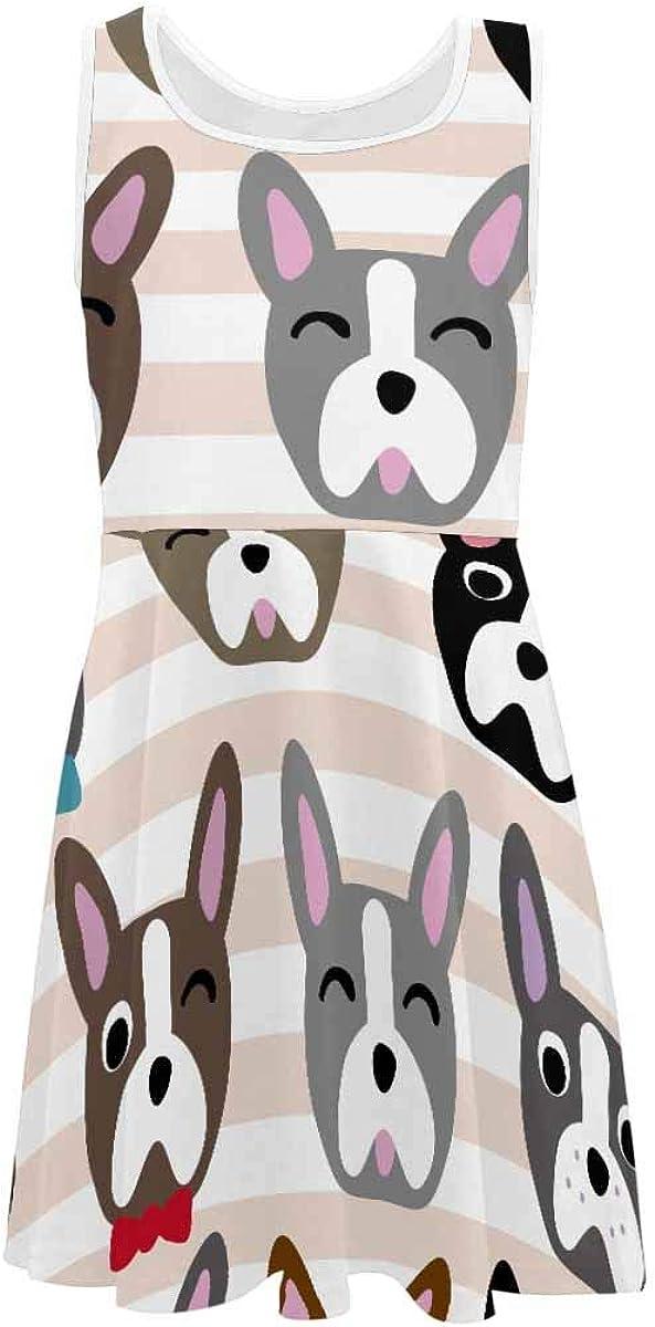 InterestPrint Girls Casual Crew Neck Sleeveless Dress A-Line Dress Cute Dog Bones Pattern (2T-XL)