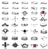 FIBO STEEL 42 Pcs Vintage Knuckle Rings for Women Stackable Midi Finger Ring Set