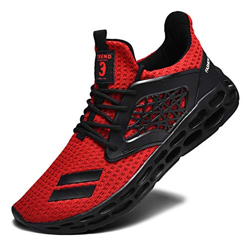 RELANCE Men's Running Shoes, Lightweight Casual Sneakers Workout Sport Athletic Shoes for Training Tennis Jogging Footwear, KX58 (9, Red)