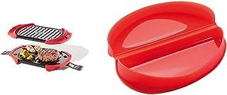 Lékué Microwave Grill, Red microondas, Acero, rojo y negro + - Recipiente para cocinar tortillas francesas en microondas, color rojo