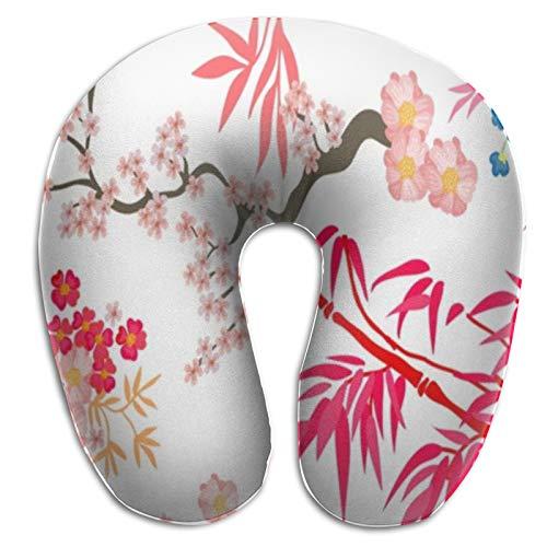 Hermosa Almohada Japonesa de Viaje para jardín, Funda de Almohada de Espuma viscoelástica con Soporte para la Cabeza y el Cuello, portátil Tipo U para Uso en avión, Tren, Camping