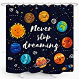 Cartoon Planet Kids Shower Curtain Cute Universe Galaxy Space Solar System Star Cluster Moon Comets Sun Cosmos Waterproof Fabric Bathroom Decor 72x72 Inch Plastic Hooks 12PCS Navy
