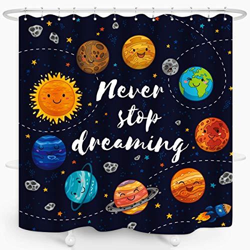 ZXMBF Cartoon Planet Kids Shower Curtain Cute Universe Galaxy Space Solar System Star Cluster Moon Comets Sun Cosmos Waterproof Fabric Bathroom Decor 72x72 Inch Plastic Hooks 12PCS Navy