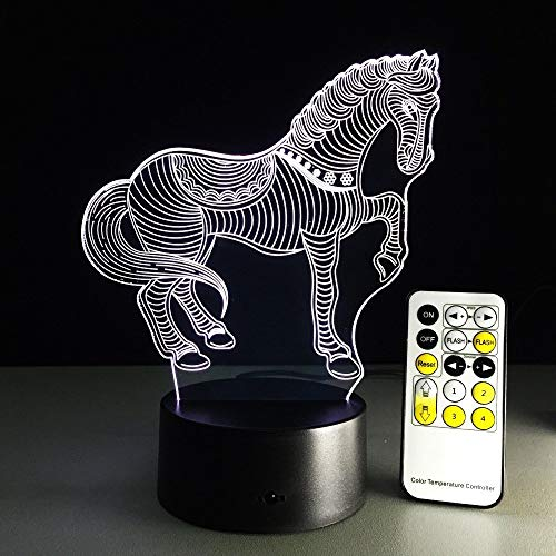 Caballo 3D Led Luz De Noche, 7 Colores Lámpara De Decoración Cambio - Regalo Perfectos Para Niño, Ilusión Óptica,Lámpara,Luz Nocturna