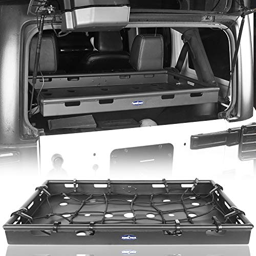 Hooke Road Jeep Wrangler Interior Cargo Basket Rack Security Luggage Carrier for 2011-2018 Jeep Wrangler JK Unlimited 4-Door