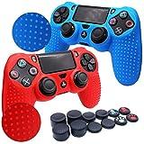 RALAN, PS4 - Controlador de piel de silicona para PS4, compatible con PS4, PS4 Slim/PS4 Pro Controller (negro) Pro Grip para pulgar x 8, Cat + Skull Cap Cover Grip x 2) (rojo + azul)