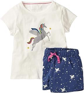 HILEELANG Conjunto de 2 Piezas de Playera sin Mangas de algodón para niña pequeña