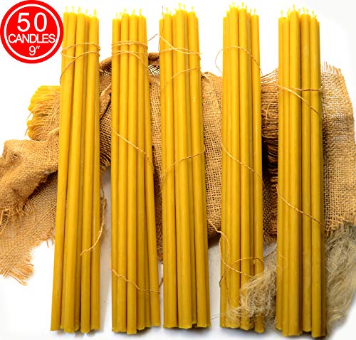 50-Pack Pure Natural Honey Scented Beeswax Candles, eco-Friendly Wax tapers for Everyday use, 9 inches Beeswax Candles with Cotton Wick and Natural Honey Scent, 1105472