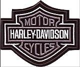 Écusson Harley Davidson Modèle argenté Barre & bouclier 10,2x 8,5cm, réplique