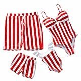 IFFEI Family Matching Swimsuits One Piece Bathing Suit Striped Hollow Out Monokini Mommy and Me Beachwear Girls 4-5 Years Red