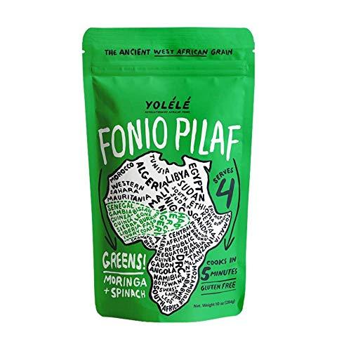 Yolélé Fonio Grain Pilaf Mix - Greens! Moringa + Spinach, 7 oz (pack of 2), Gluten-Free + Non-GMO
