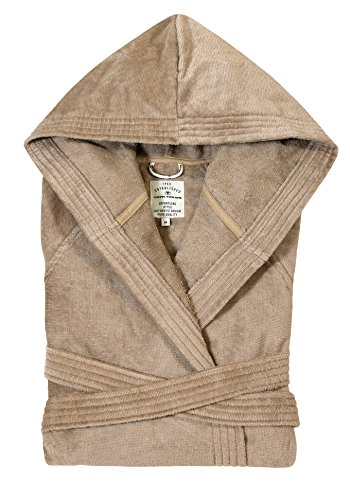 TOM TAILOR 0110401 Velours Bademantel  (Baumwolle/Polyester) S, sand