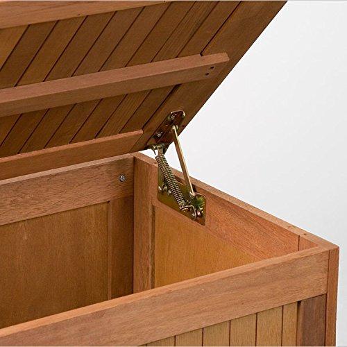 STILISTA® Gartenbank Gartenbox aus 100% FSC zertifiziertem Shorea-Hartholz, geölt, Liftautomatik, inkl. Kissen in Farbe natur, 113 x 52,5 x 60,5 cm, Auflagentruhe - 3