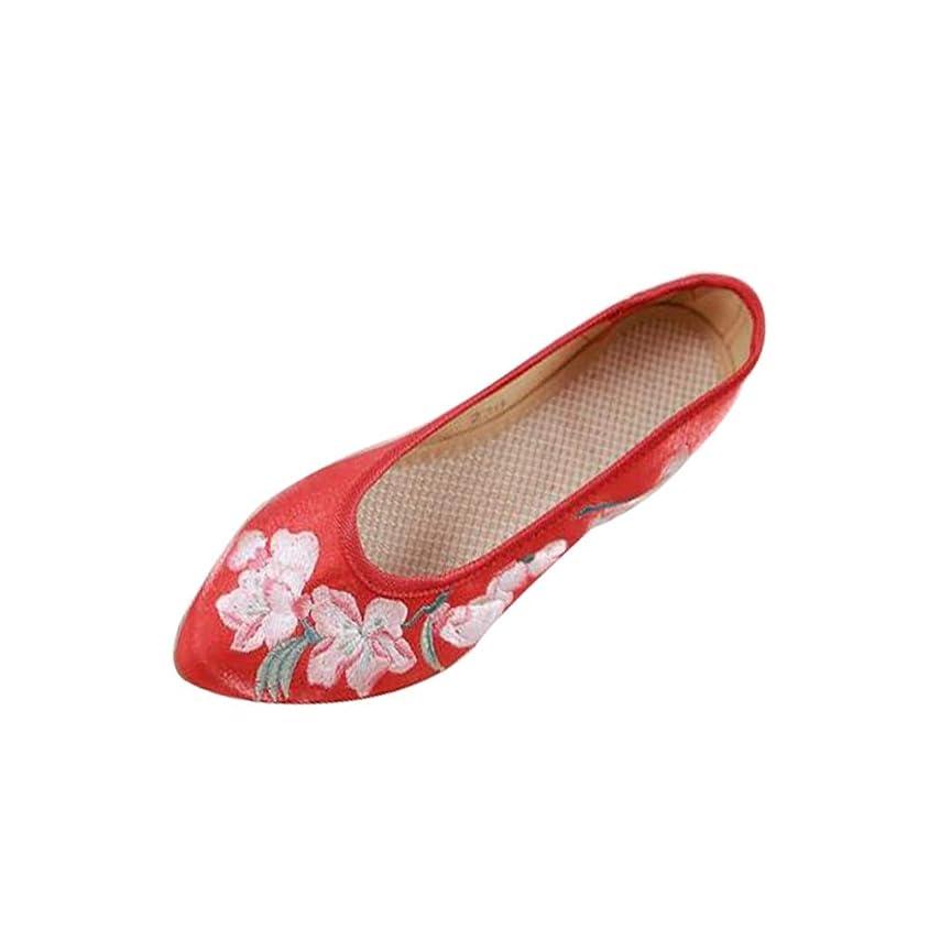倍増思春期スチュワーデス刺繍入り布靴婦人靴春と夏のシングルシューズ国風古代風増加母靴カジュアルシューズ (色 : 赤, サイズ さいず : 35)