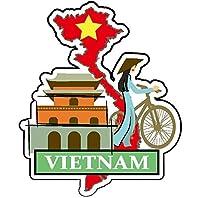 ナショナルフラッグ&マップシリーズステッカー 国旗地図 防水紙シール スーツケース・タブレットPC・スケボー・マイカーのドレスアップ・カスタマイズに (ベトナム)