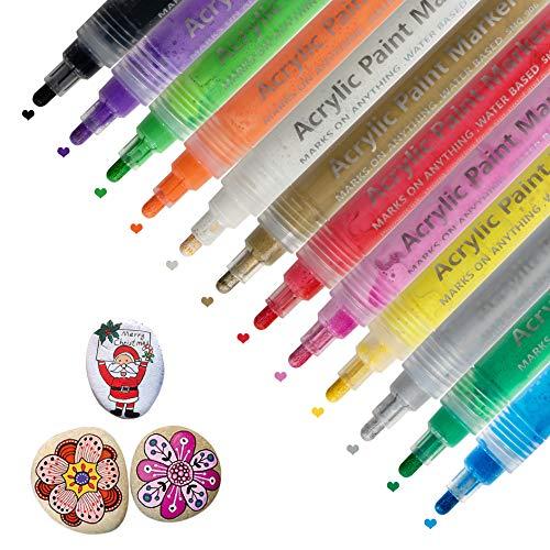Rotuladores de Pintura Acrílica Marcadores para Piedras 12 Colores, Niños Regalo DIY Art Album Scrapbook Plastico Rupestre Cerámica Metal Vidrio