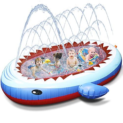 Tobeape Sprinkler Pad Schwimmbecken für Kinder, Großes aufblasbares Hai Baby Planschbecken, 170cm Splash Pad & Sprinkler Kinderbecken, Outdoor Sommer Wasserspielzeug für Kleinkind Jungen Mädchen