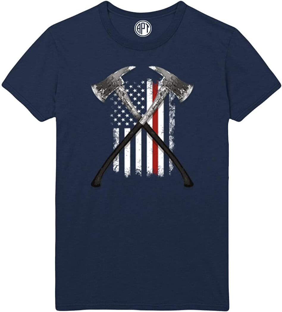 Fireman Axes and Flag w/Red Line Printed T-Shirt