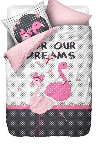 BaSaTex Microfaser Kinderbettwäsche Flamingo Pink Rosa 2 TLG. Set 135x200 cm 80x80 cm